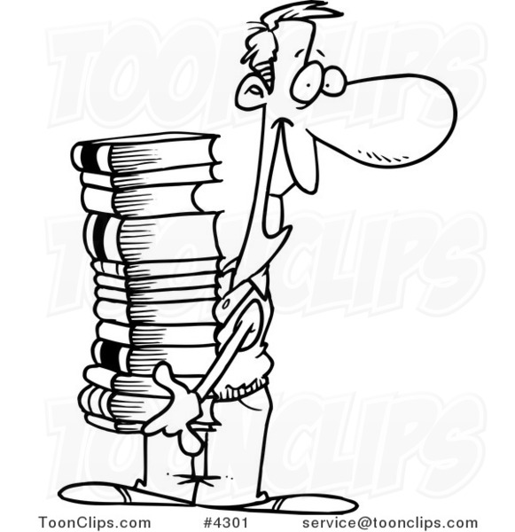 581x600 Cartoon Black And White Line Drawing A Guy Carrying A Stack