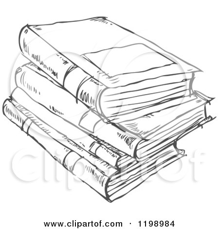 450x470 Cartoon Of A Black And White Stack Of Books Doodle Sketch