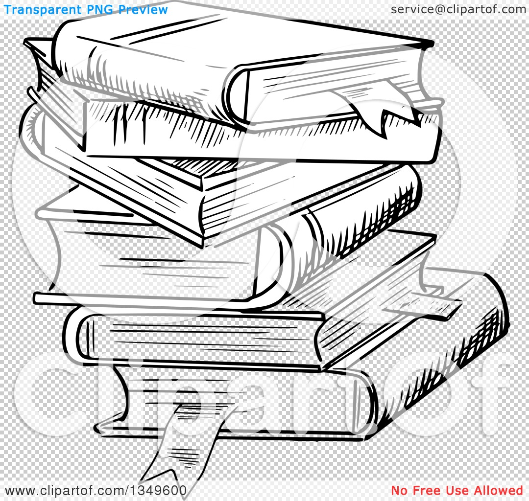 1080x1024 Clipart Of A Black And White Sketched Messy Stack Of Books