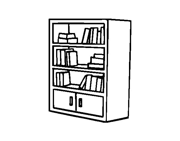 600x470 Bookcase With Drawers Coloring Page
