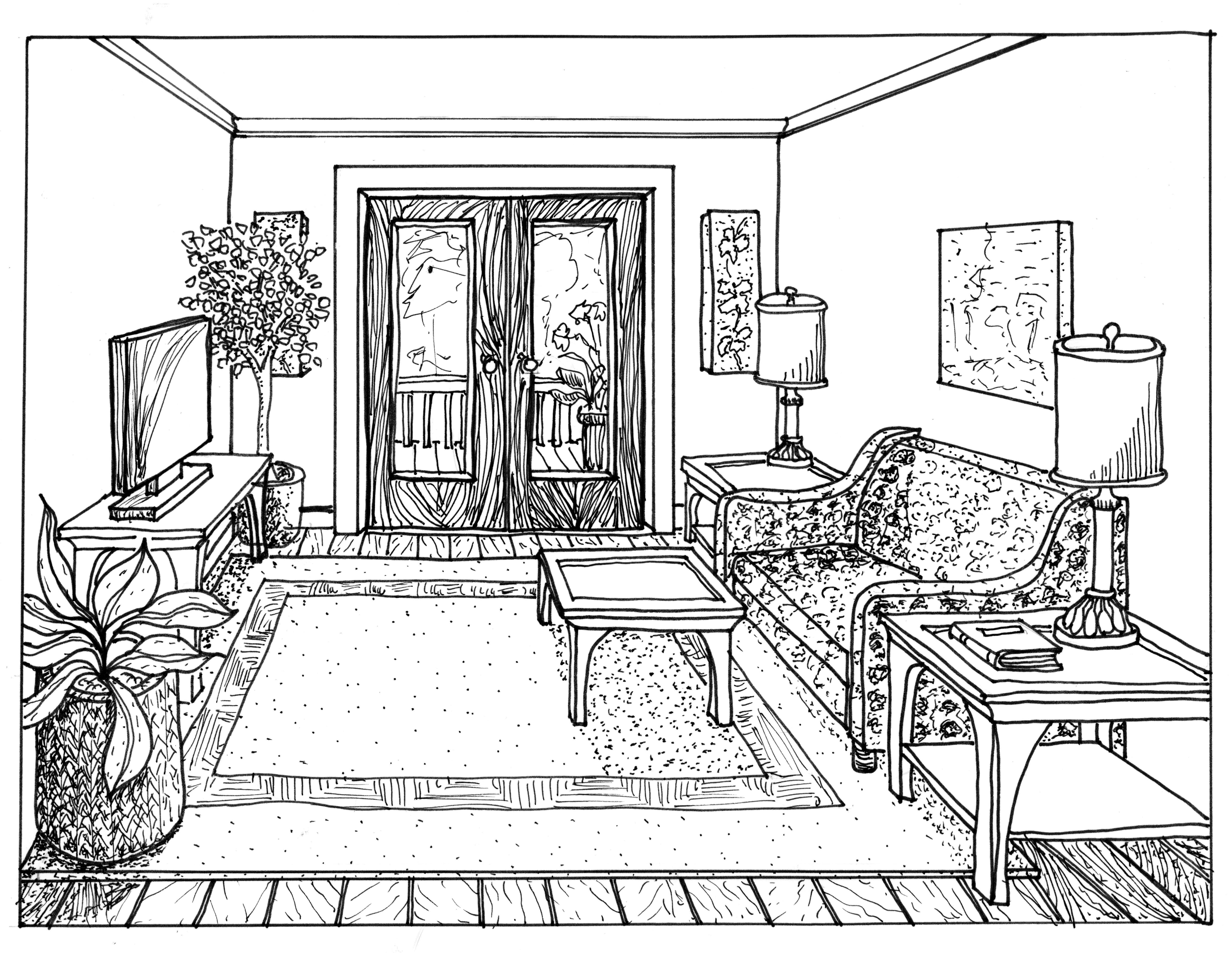 5748x4446 One Point Perspective Room Interior Drawing