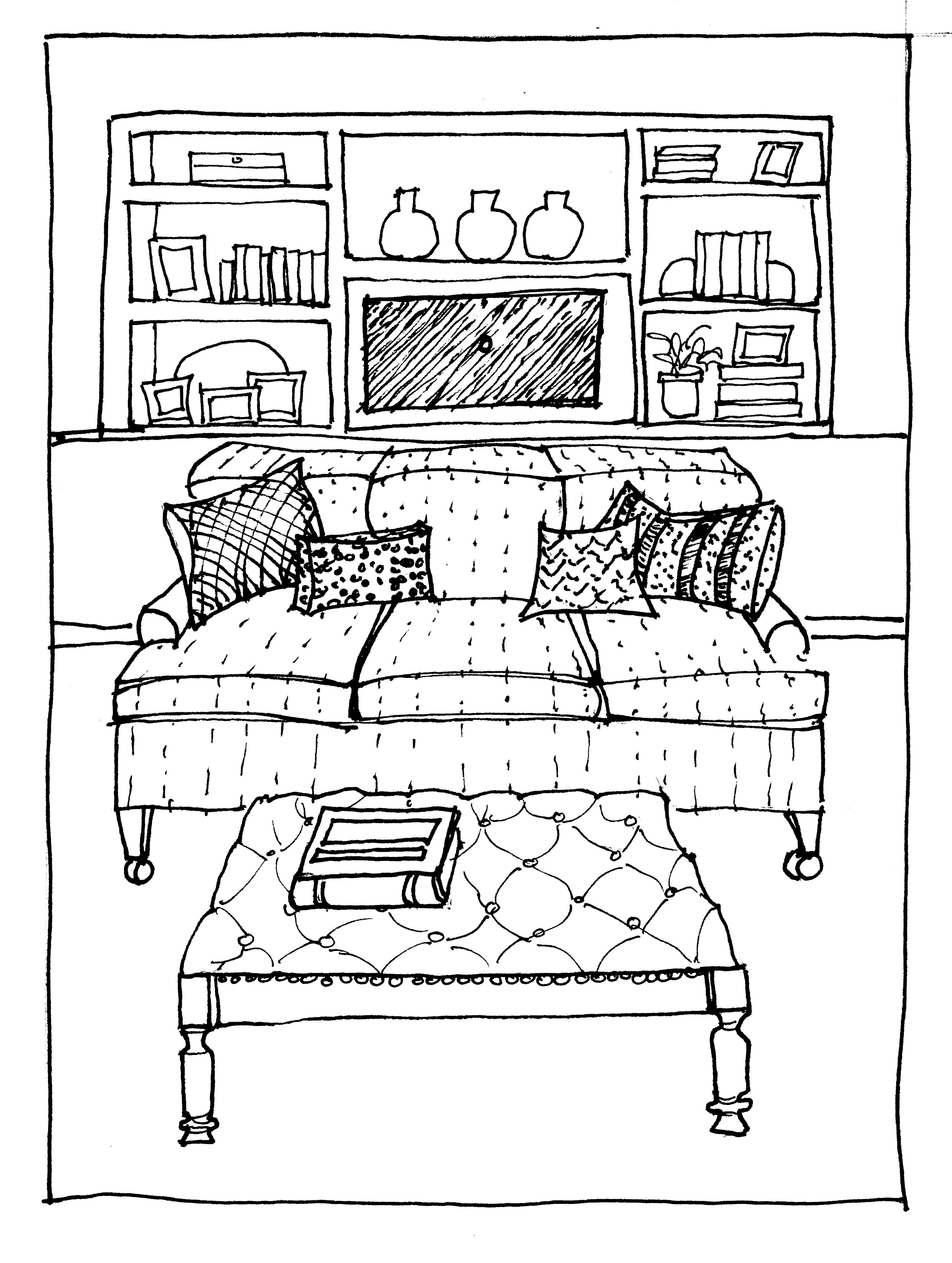 3618x4801 Wonderful Interior Drawing With Wood Floor Featuring Modern Living