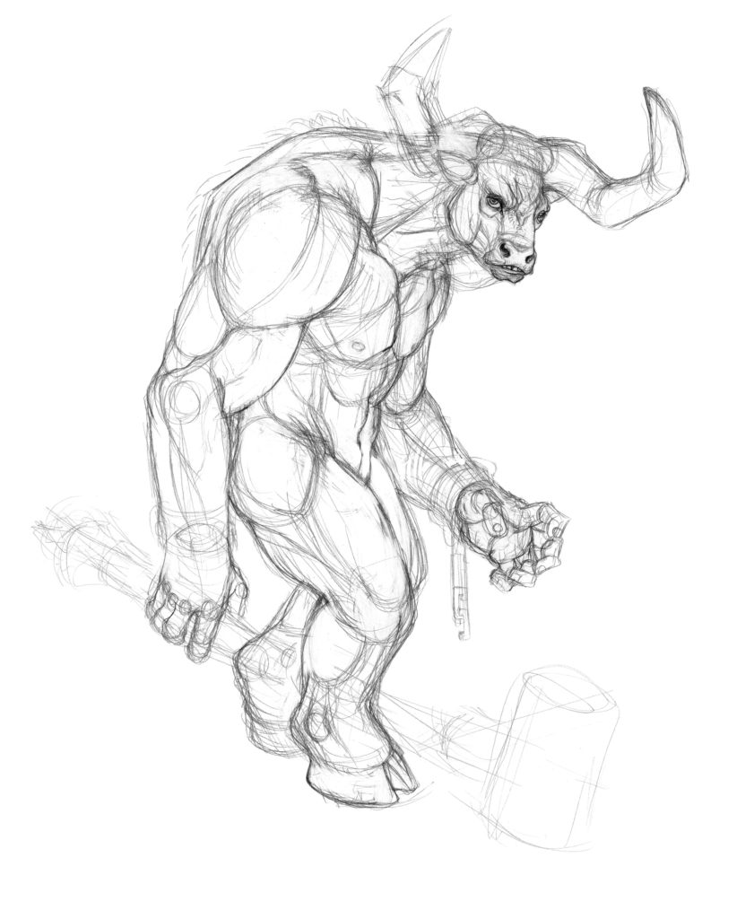 841x1024 Creating Fantasy Creatures How To Draw A Minotaur
