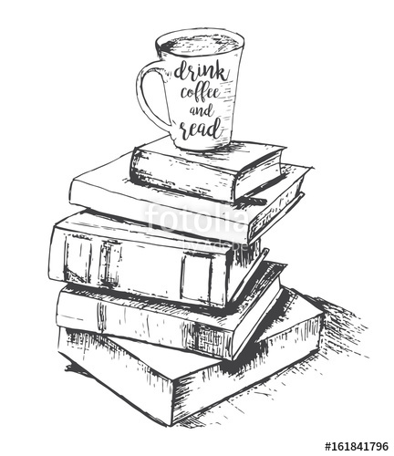432x500 Vector Sketch Drawing With Cup And Books. Drink And Read. Vector