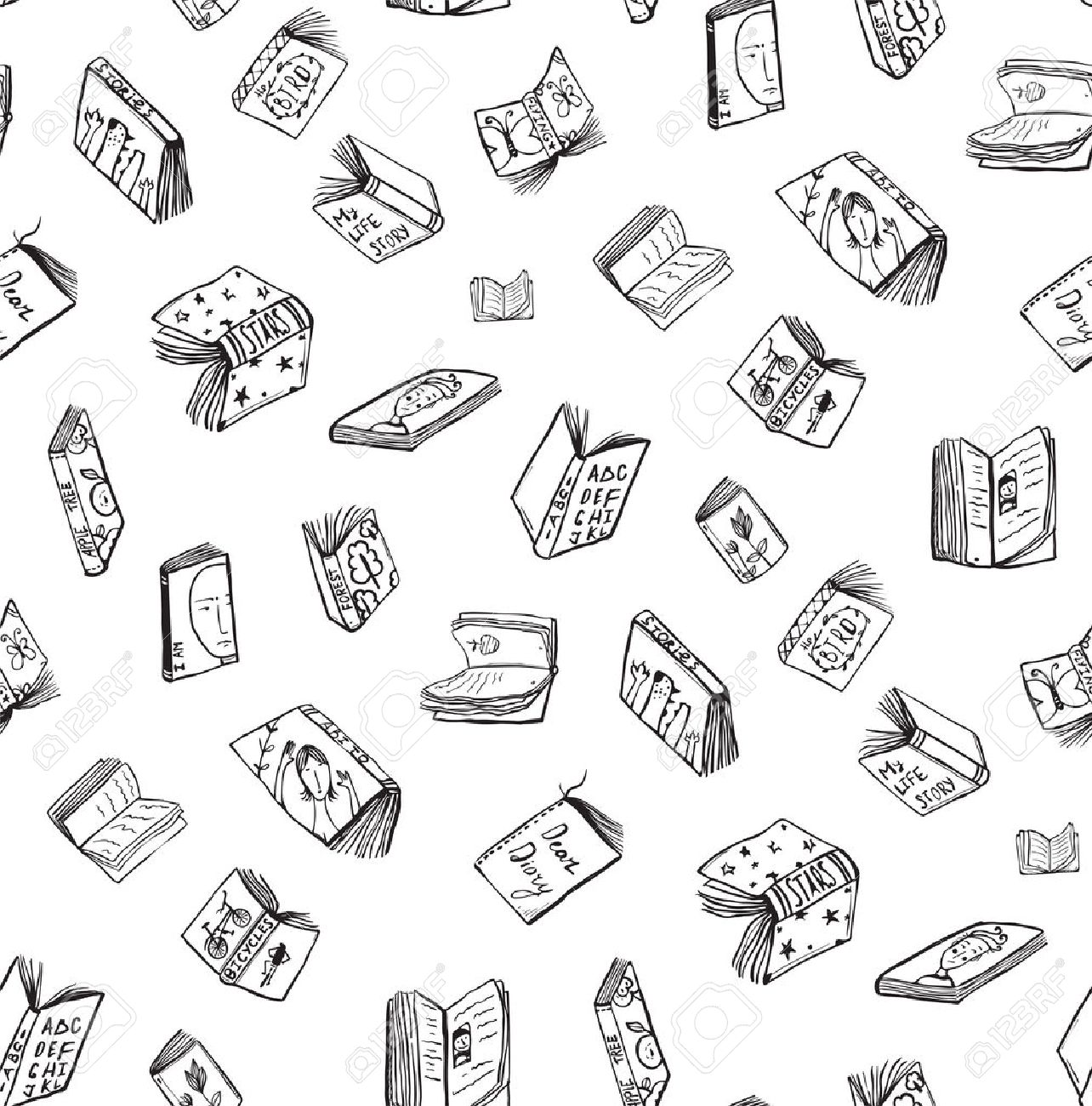 1284x1300 Open Books Drawing Seamless Pattern Background. Hand Drawn Black
