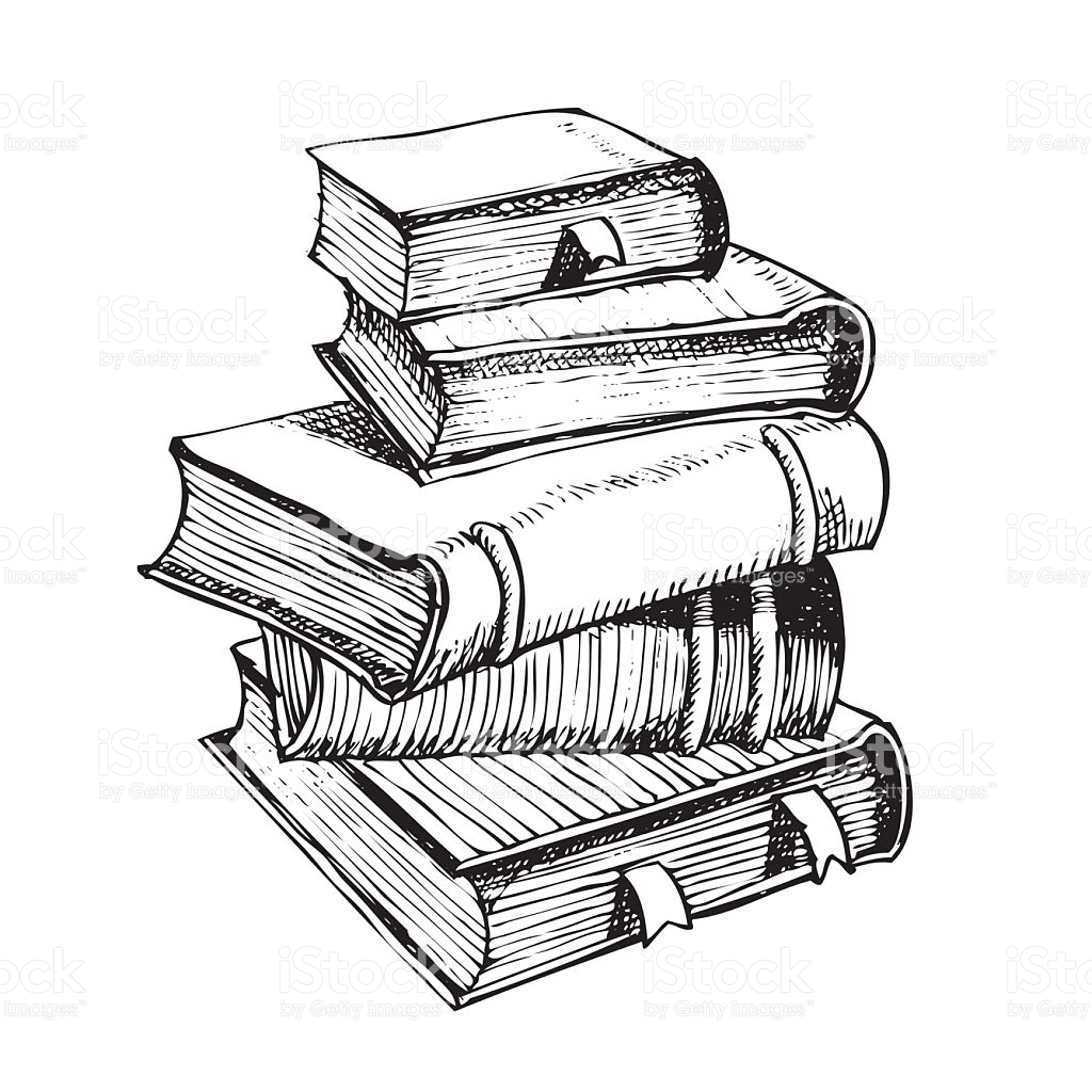 1024x1024 Vector Hand Pen Drawing Of Pile Of Books Vector Art And Sketches