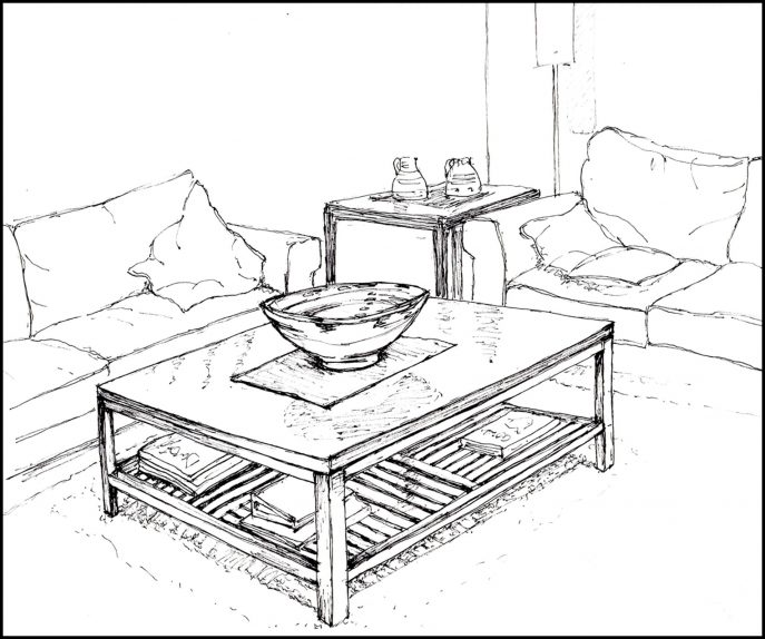 687x574 Living Room Drawing By Denny Casto Within Ideas 18