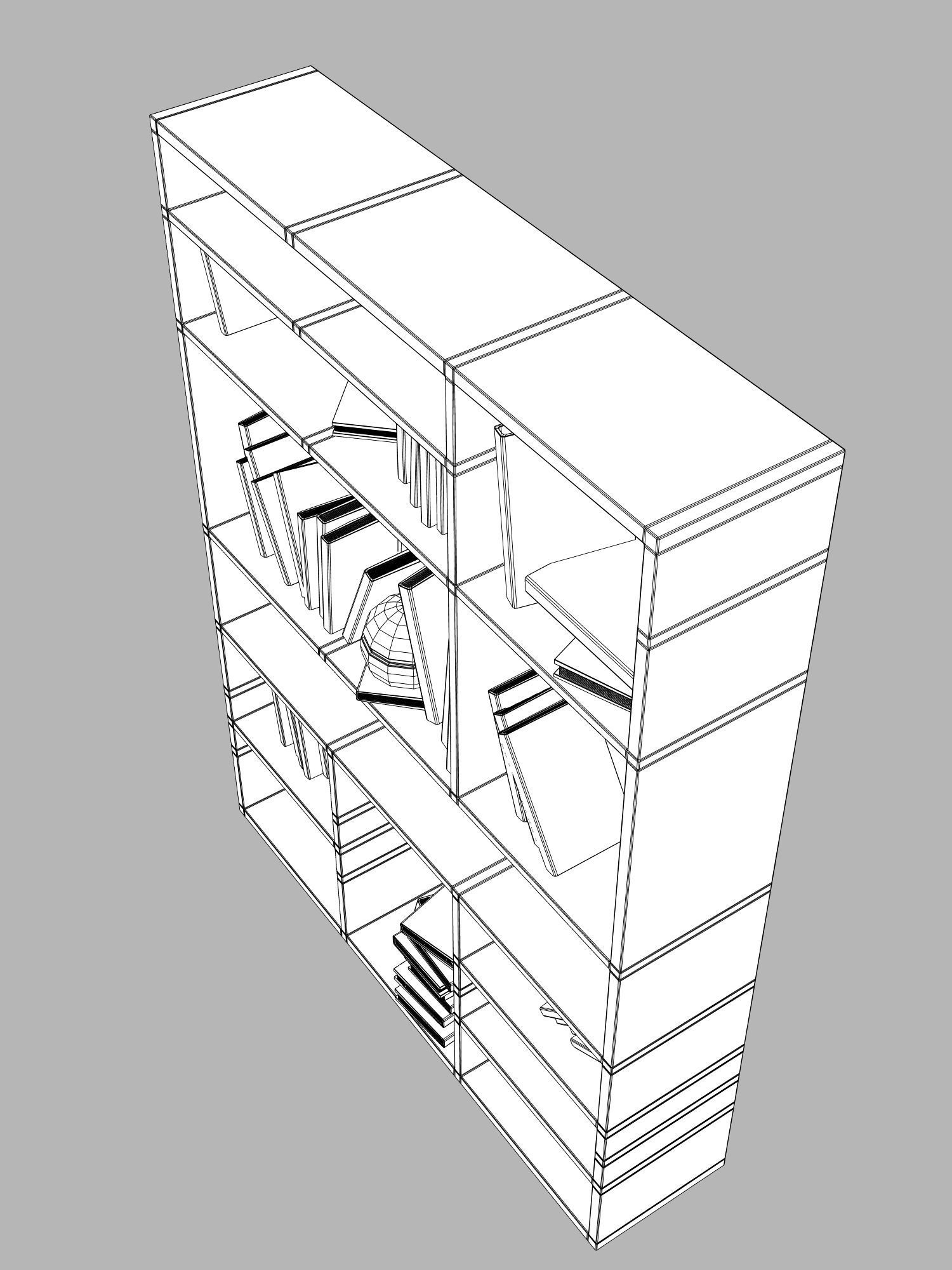 1500x2000 Bookcase In White 3d Cgtrader