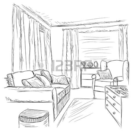 450x450 Modern Interior Room Sketch. Hand Drawn Bookshelves And Sofa