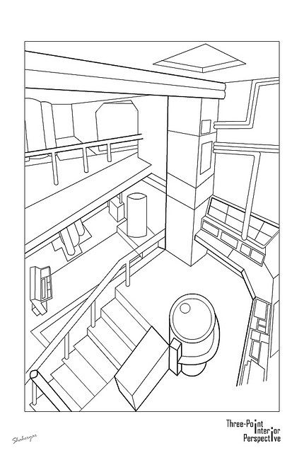 430x640 One Point Perspective Interior Drawing Drawings