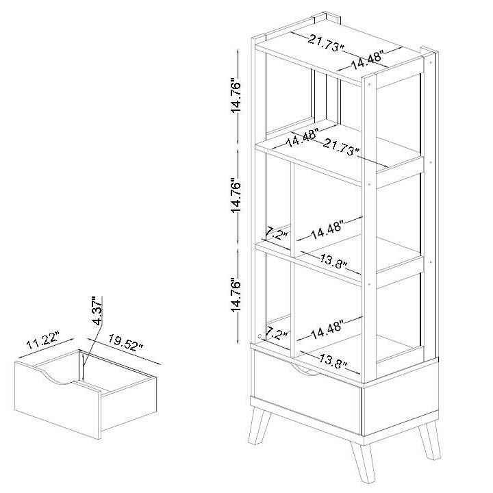 720x720 Baxton Studio Kalien Contemporary Dark Brown Wood Leaning Bookcase