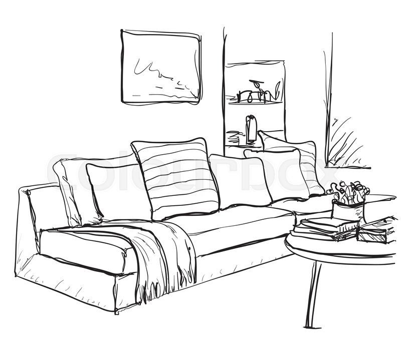 800x685 Room Interior Sketch. Hand Drawn Sofa And Bookshelves. Stock