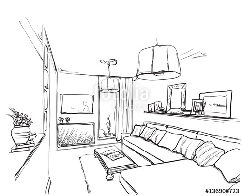 500x405 Room Interior Sketch. Hand Drawn Sofa And Furniture. Stock Image