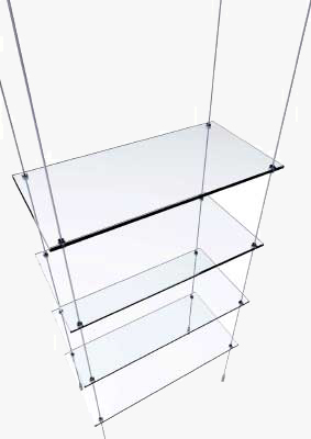 283x400 Suspended Glass Display Shelves Regarding Hanging Inspirations 14