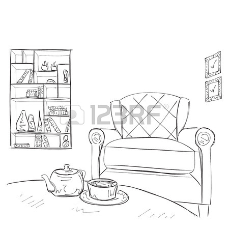 450x450 Hand Drawn Furniture. Chairs And Tables Sketch Royalty Free