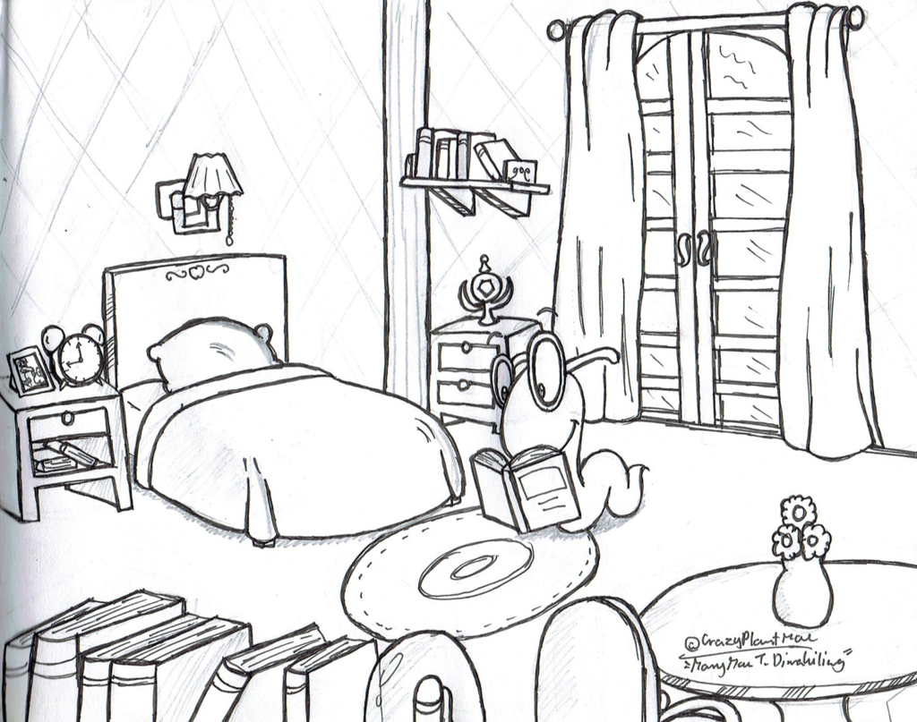 1024x807 Room For A Bookworm(Traditional Drawing) By Crazyplantmae