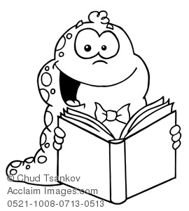 270x300 And White Smiling Book Worm Reading A Book Clipart Illustration