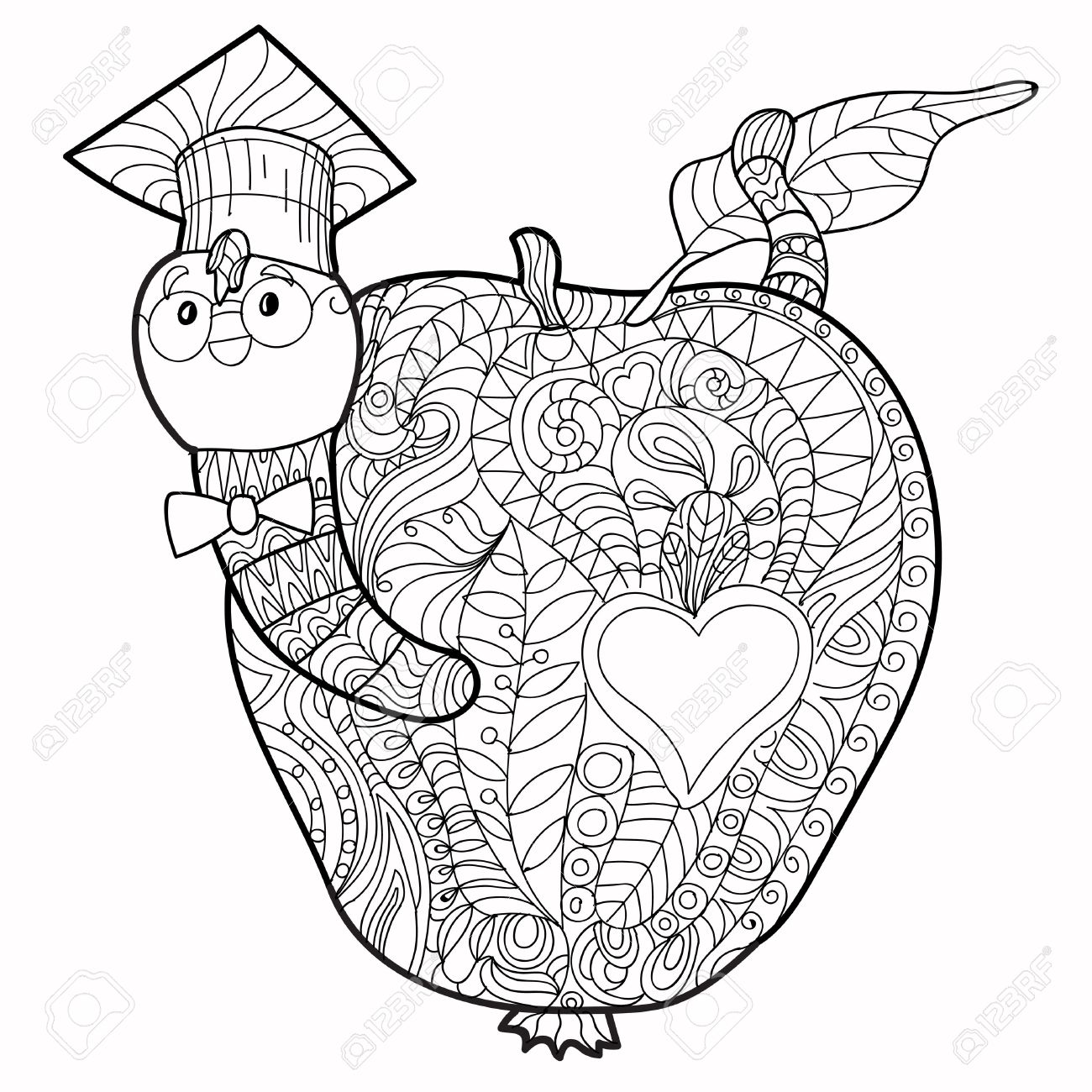1300x1300 Bookworm Doodle In The Graduates Hat In Apple. Royalty Free