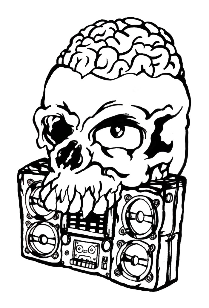 700x1030 Boombox Skull By King Fiasco