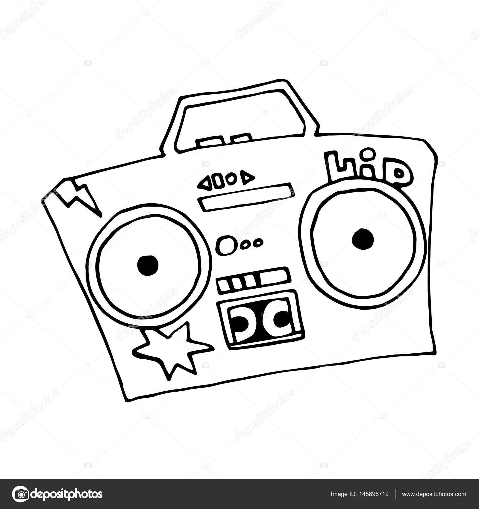 1600x1700 Ghetto Blaster Boombox Sketch Drawing On White Background. Vector