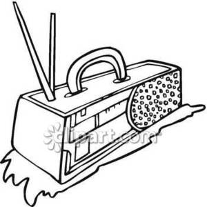 300x300 Abstract Line Drawing Of A Boom Box Royalty Free Clipart Picture