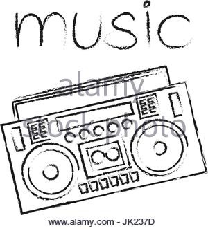 300x331 Boombox Vector Drawing Illustration Retro Sketch Art Stock Vector