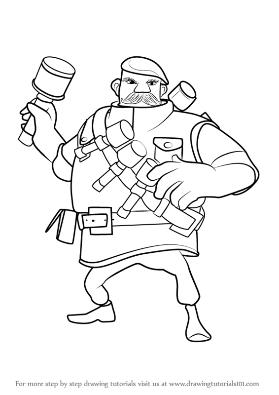 566x800 Learn How To Draw Grenadier From Boom Beach (Boom Beach) Step By