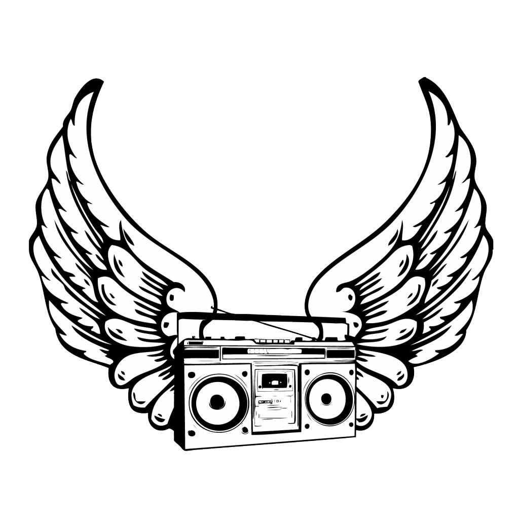 1024x1023 Old School Boombox With Wings