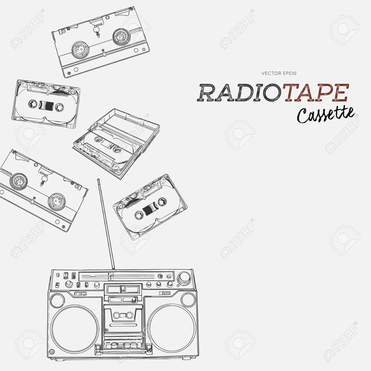 1300x1300 Vintage Audio Tape Cassette, Boombox And Video Tape Hand Draw