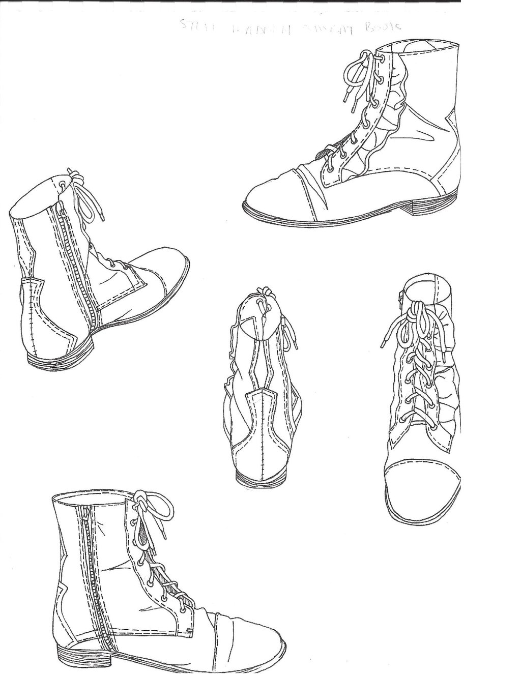 1024x1325 Combat Boot Sketches By Louie Xv