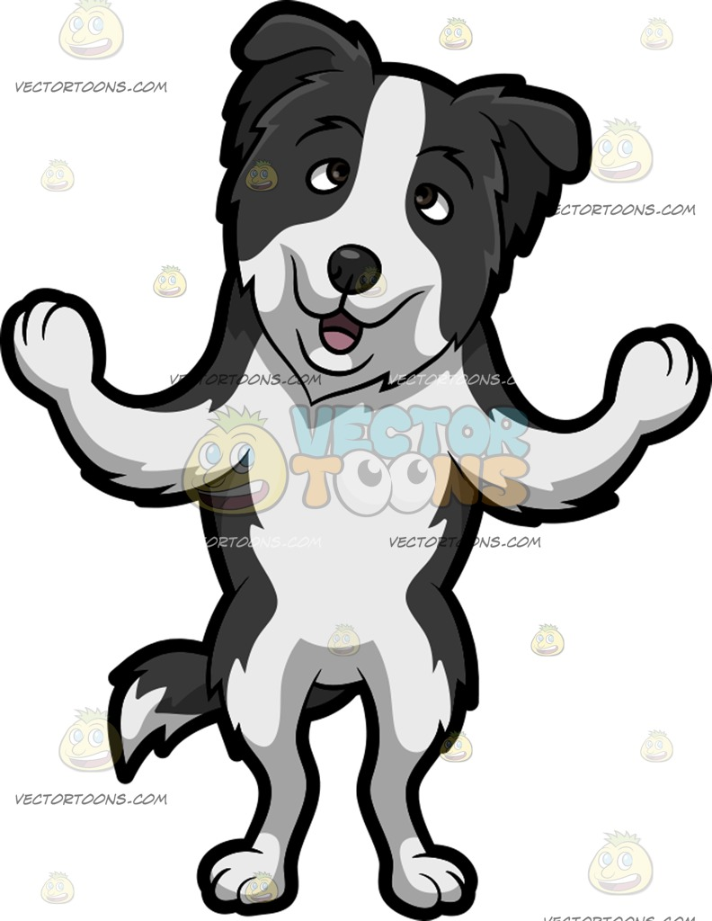 792x1024 A Border Collie Having A Conversation Cartoon Clipart