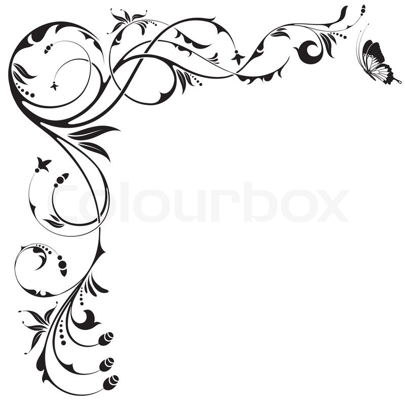 800x800 Floral border with butterfly, element for design, vector