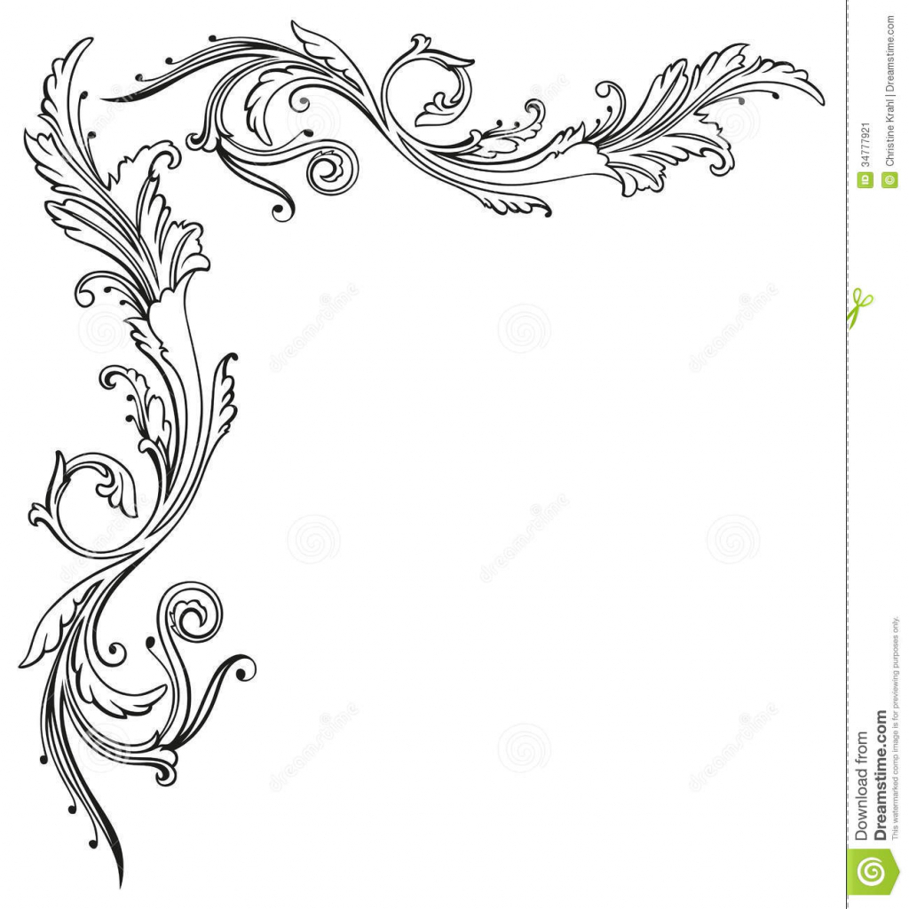 1024x1024 Flowers Drawings With Border Flower Border Drawing Flower Border