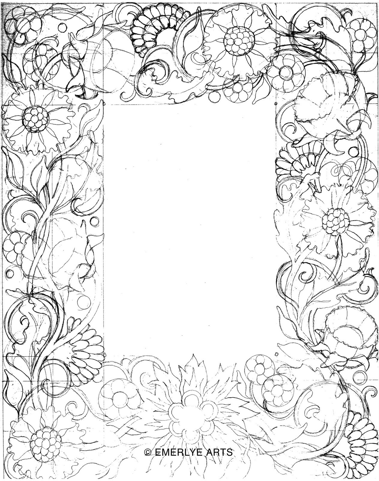 1263x1600 Pencil Sketch Rose Page Border Design