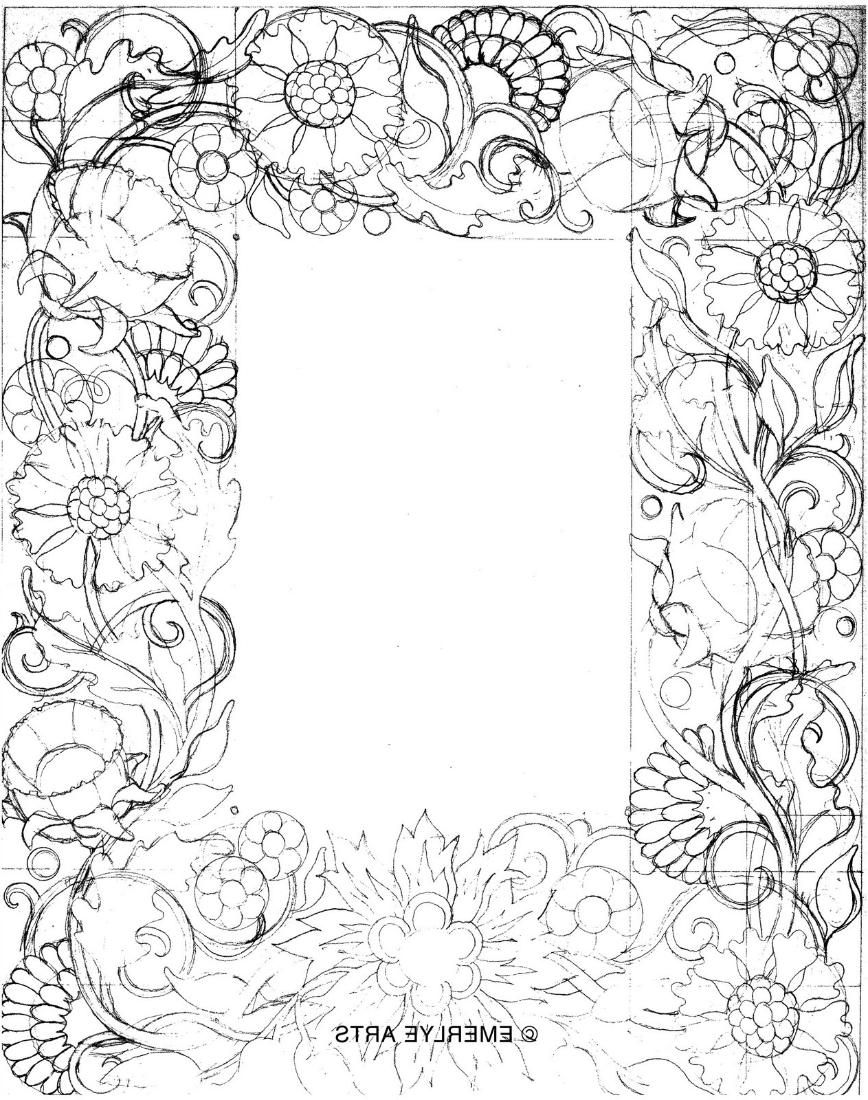 1263x1600 Simple Pencil Drawing Designs For Border Design Using