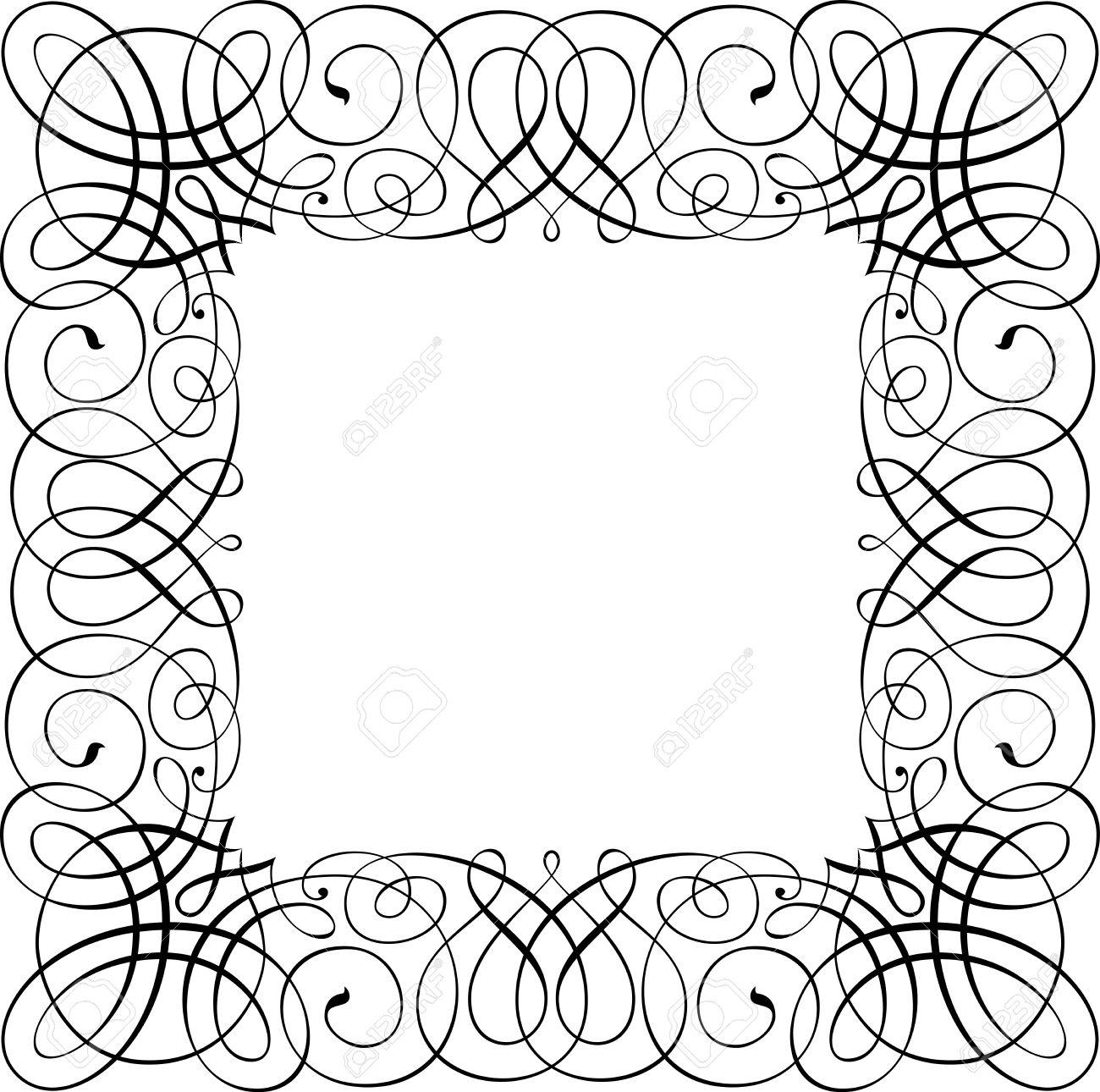 1300x1290 calligraphic vector design border square shape royalty free