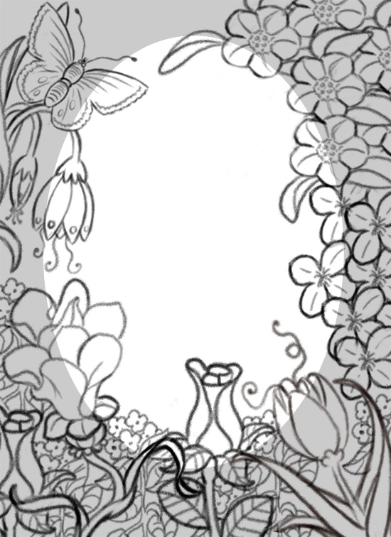 550x756 Flower Border Line Drawing Palacio Illustration