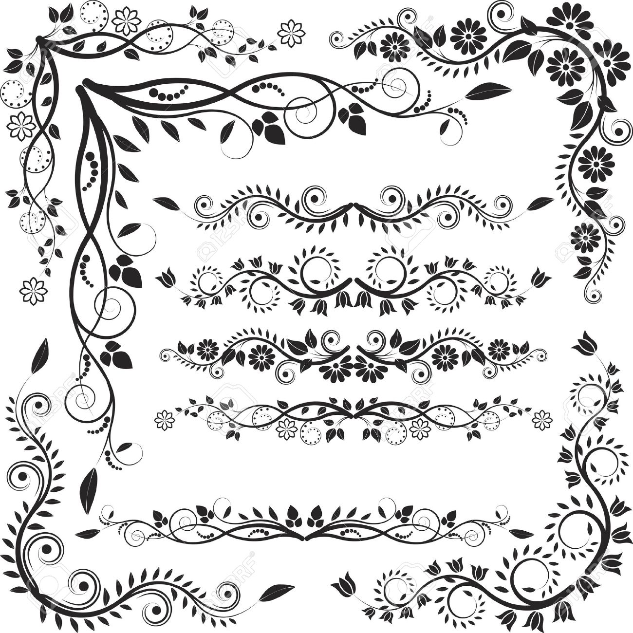1300x1300 Floral Corners Borders Royalty Free Cliparts, Vectors,