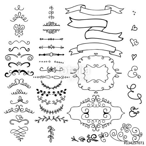 500x500 Hand Drawn Pencil Border, Frames, Ribbon. Sketch Design Concept