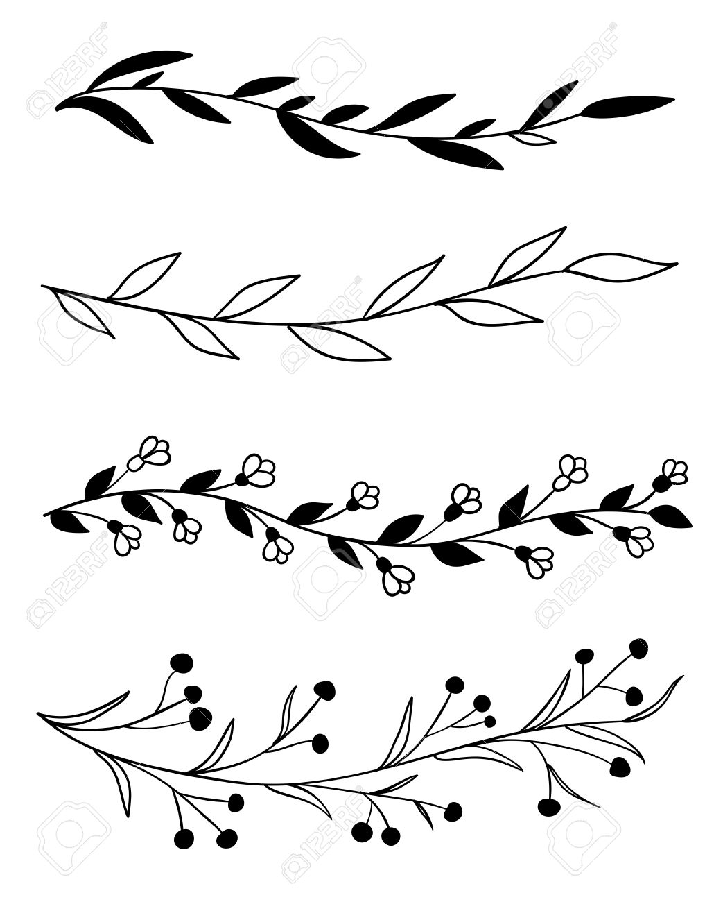 1043x1300 Set Of 4 Hand Drawn Borders With Leaves, Flowers And Berries