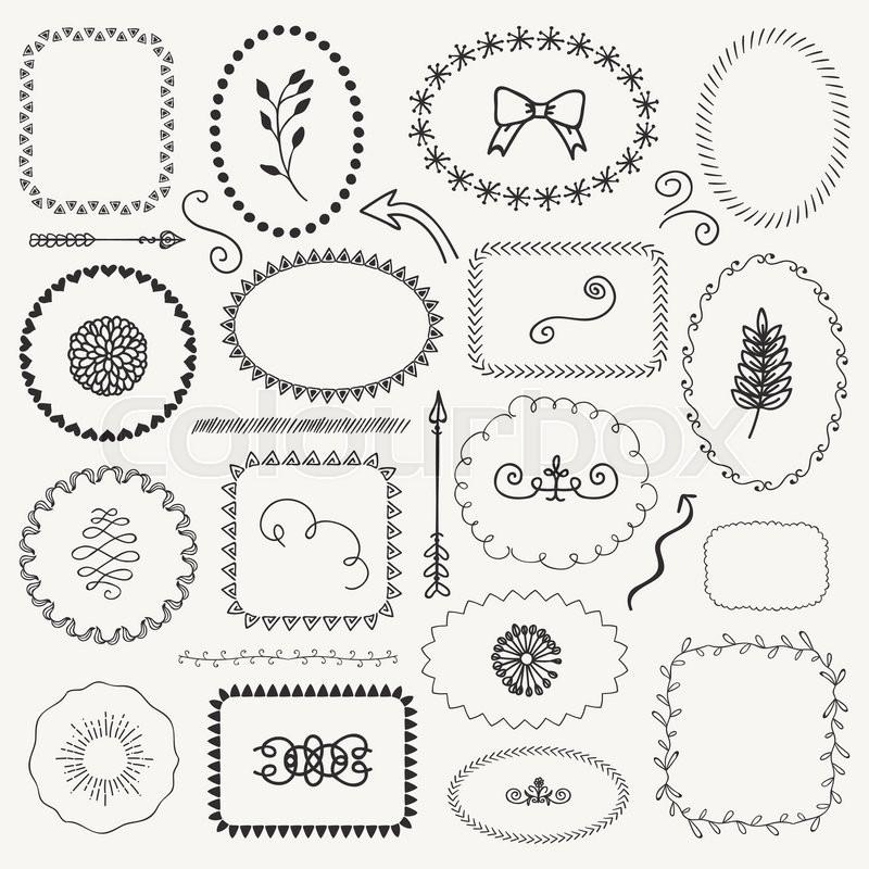 800x800 Set Of Decorative Black Hand Sketched Rustic Floral Doodle Frames
