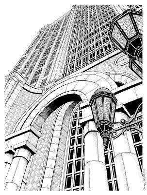 303x400 A Pen Amp Ink Drawing Of 500 Boylston Street, Boston, Ma. Drawings