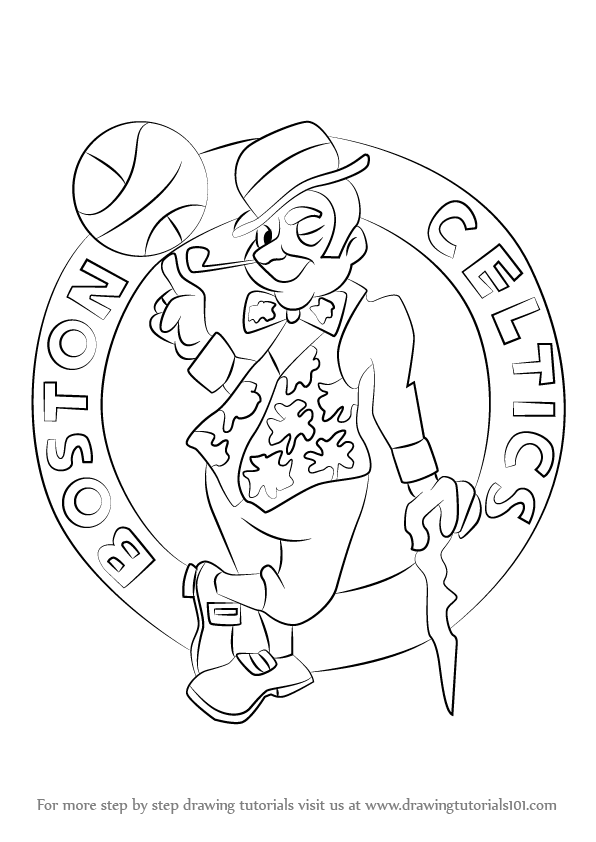 596x842 Learn How To Draw Boston Celtics Logo (Nba) Step By Step Drawing