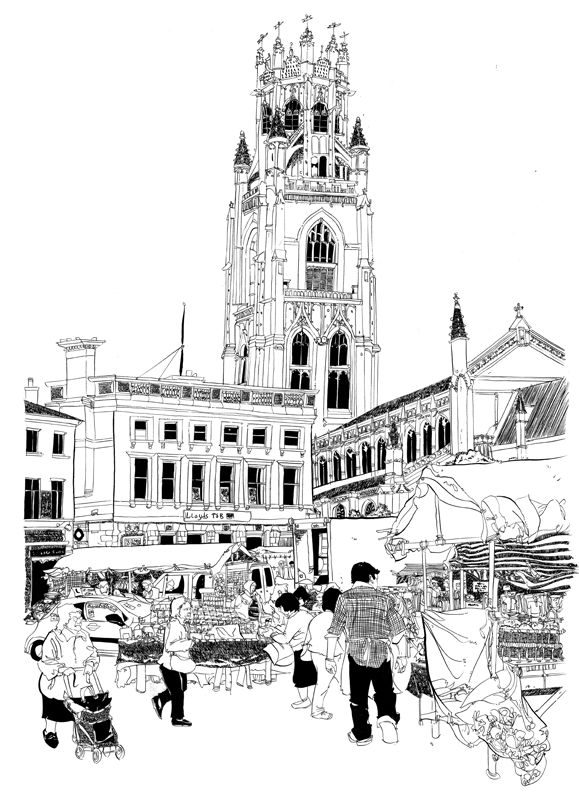 579x800 Marketplace In Boston, Lincolnshire Print. Steve Larder