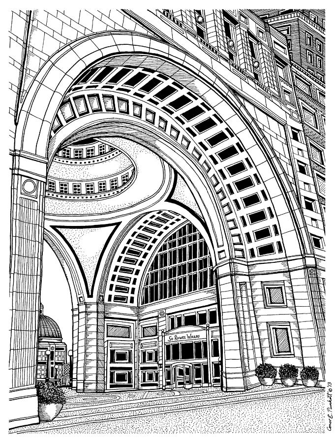 681x900 Rowes Wharf Boston Harbor Hotel Drawing By Conor Plunkett