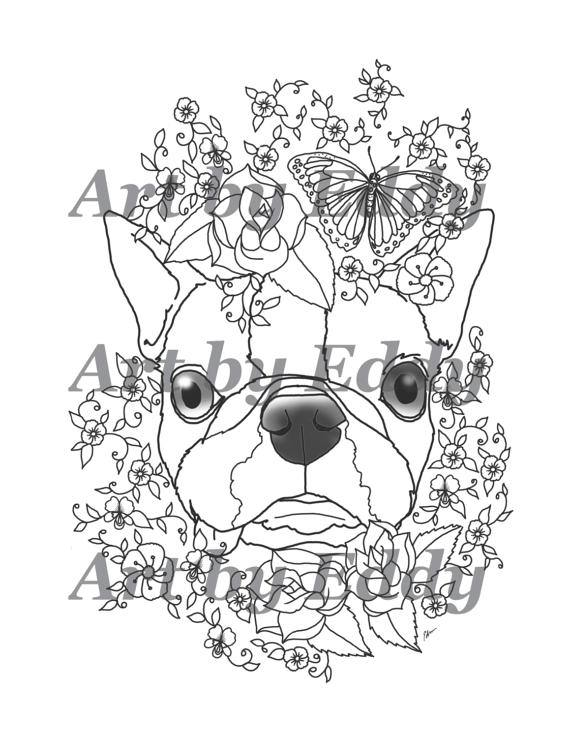 570x738 Art Of Boston Terrier Coloring Book Volume No. 1 Physical