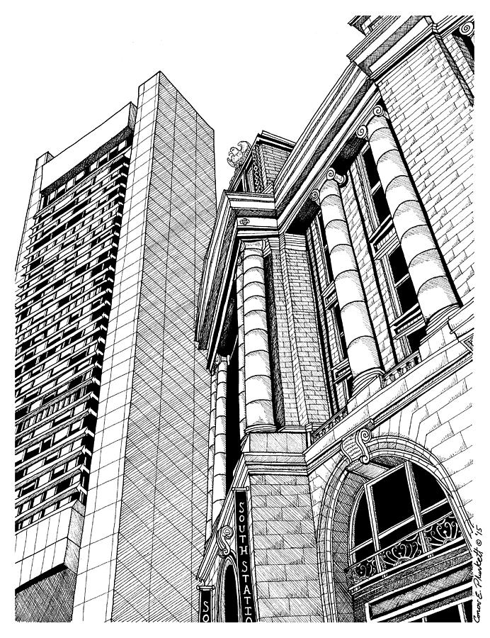 692x900 Boston's South Station Drawing By Conor Plunkett