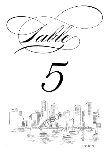 360x504 Boston Skyline Table Numbers For Weddings