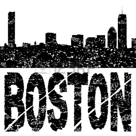 450x450 Grunge Boston Skyline With Text Illustration Stock Photo, Picture