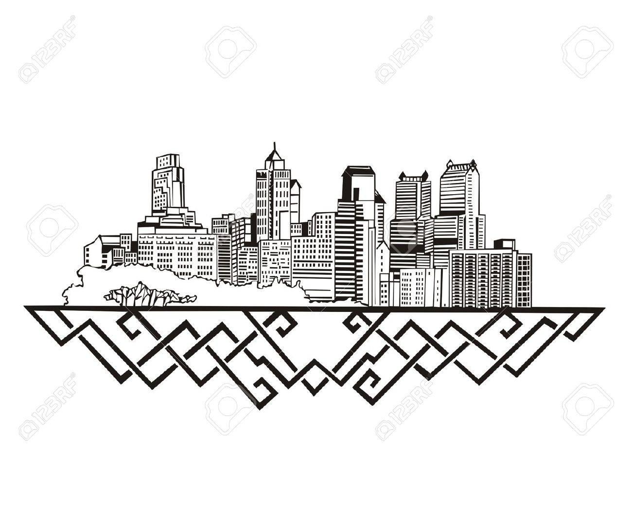 1300x1079 Philadelphia, Pa Skyline. Black And White Royalty Free Cliparts